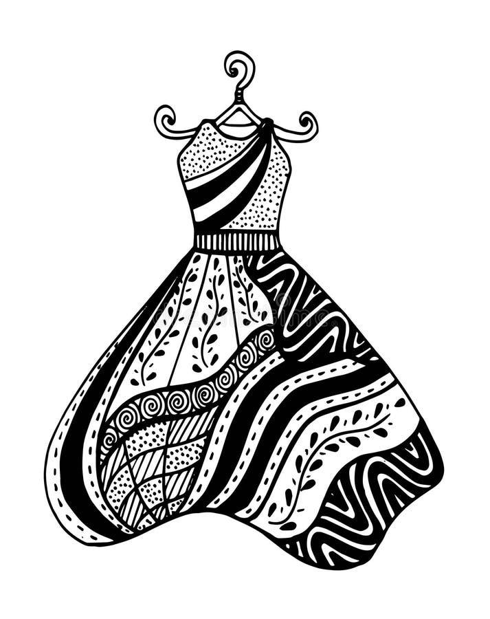 Piękna rocznik suknia Czarny i biały wektor dla barwić royalty ilustracja