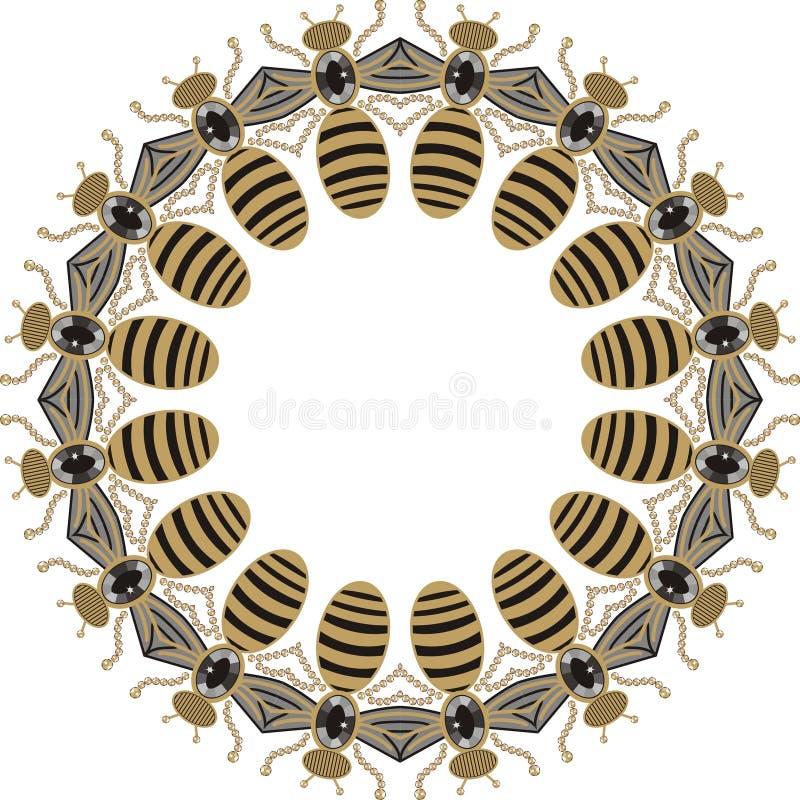 Piękna round rama latające pszczoły, dragonflies, błyszczący złoto i czarny druk z cennymi rhinestones, royalty ilustracja