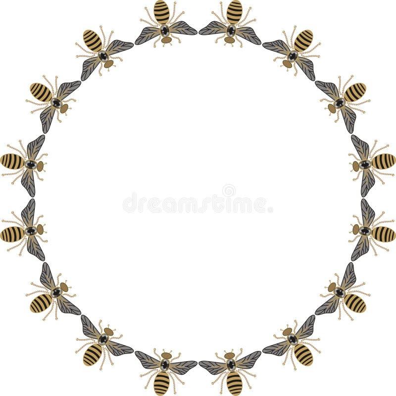 Piękna round rama latające pszczoły, dragonflies, błyszczący złoto i czarny druk z, cennymi rhinestones, broderią i biżuterią, ilustracja wektor