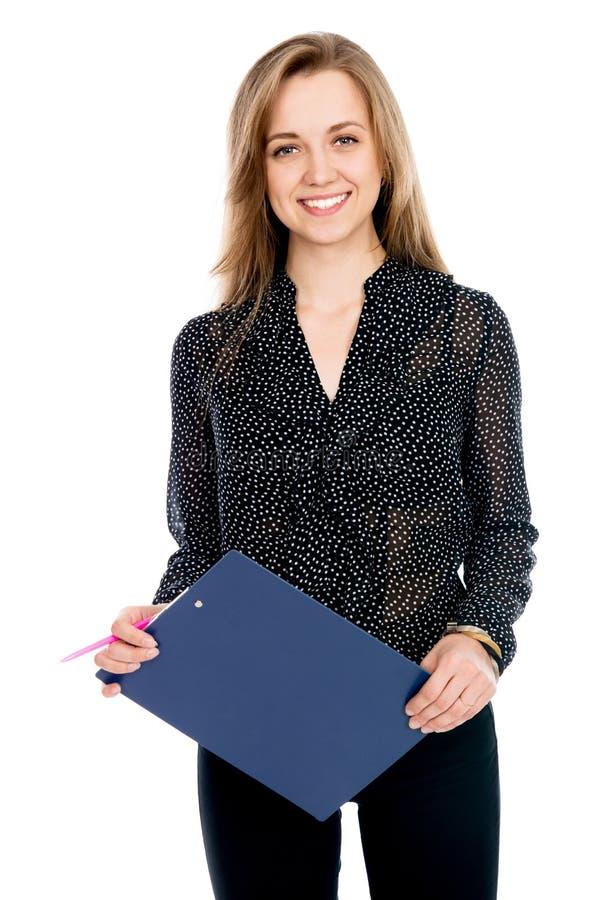 Piękna rozochocona biznesowa kobieta z pastylką i pióro dla notatek zdjęcie royalty free