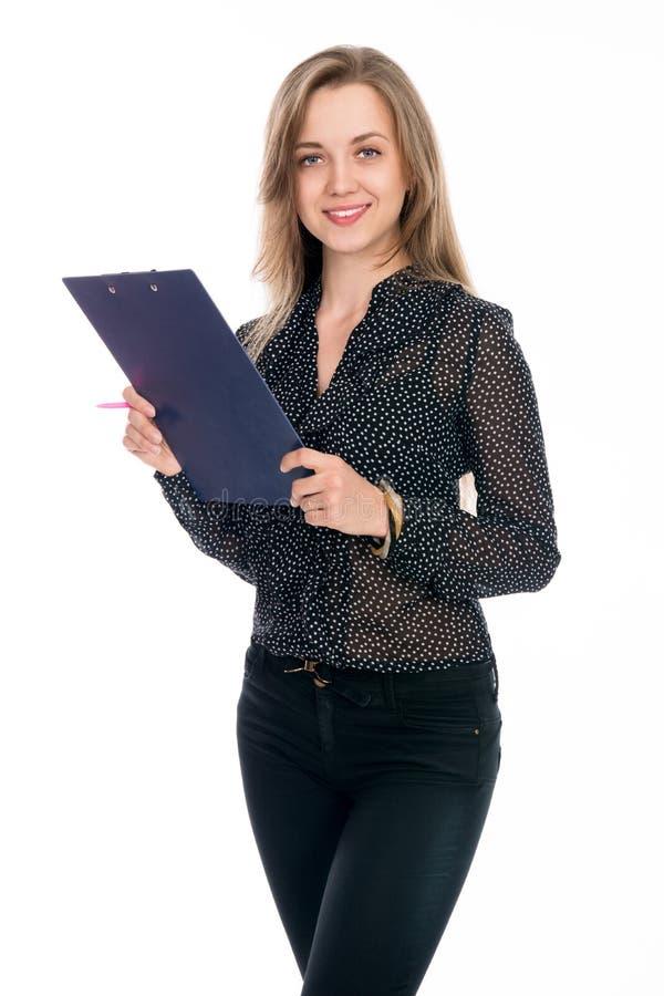 Piękna rozochocona biznesowa kobieta z pastylką i pióro dla notatek fotografia royalty free