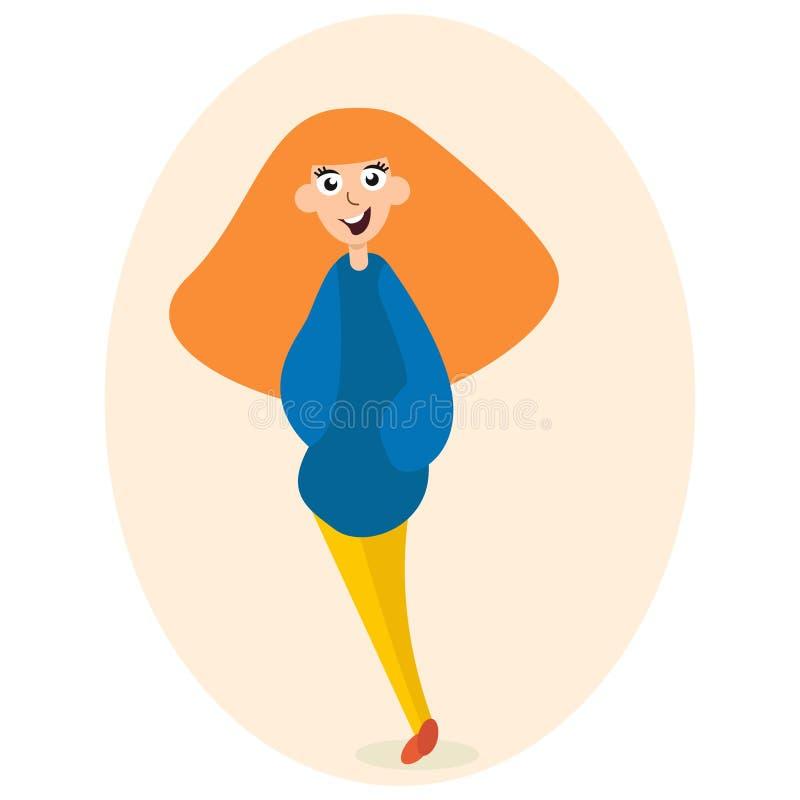 Piękna rozochocona rudzielec dziewczyna ilustracja wektor