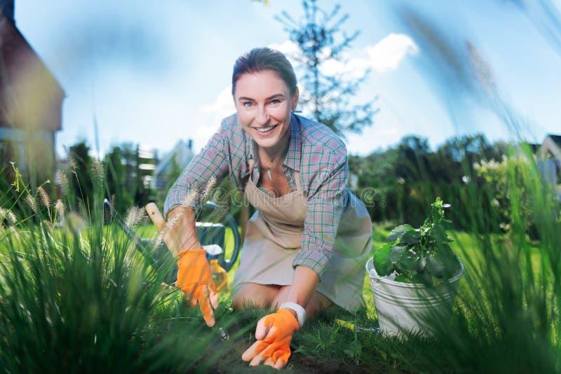 Piękna rozochocona zielonooka kobieta czuje zadziwiać podczas gdy pracujący w ogródzie zdjęcie stock