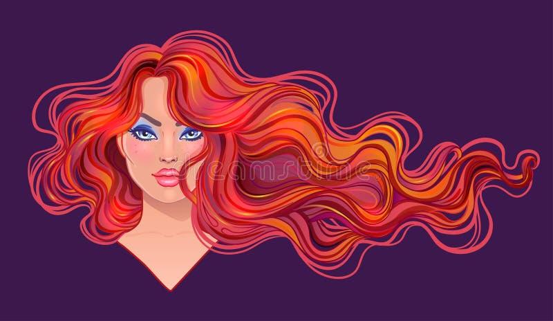 Piękna rudzielec kobieta z długim falistego włosy spływaniem w wiatrze ilustracji