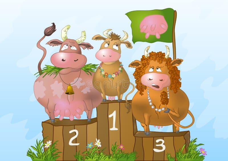 piękna rywalizaci krowy ilustracja wektor
