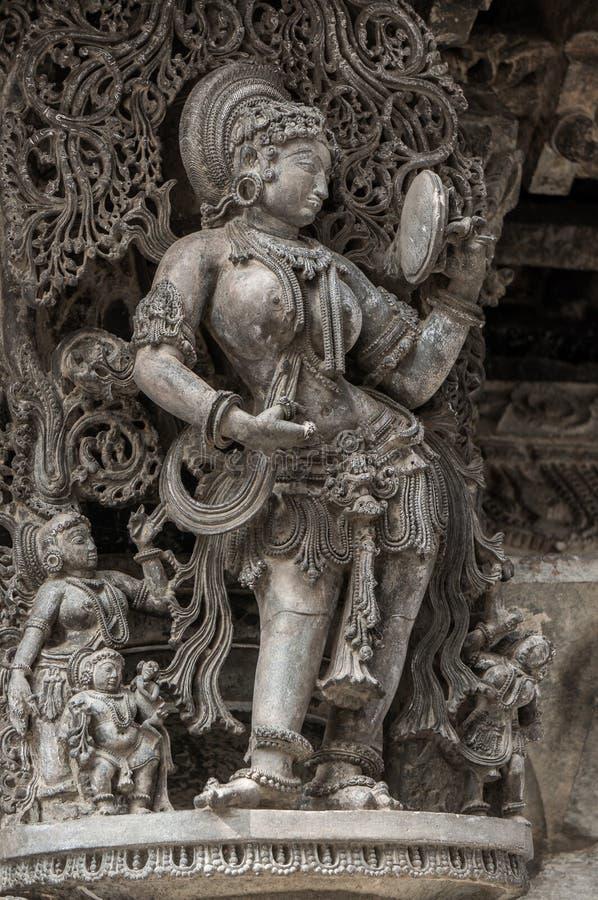 Piękna rzeźba w Chennakeshava świątyni w Belur, Karnataka, India fotografia royalty free