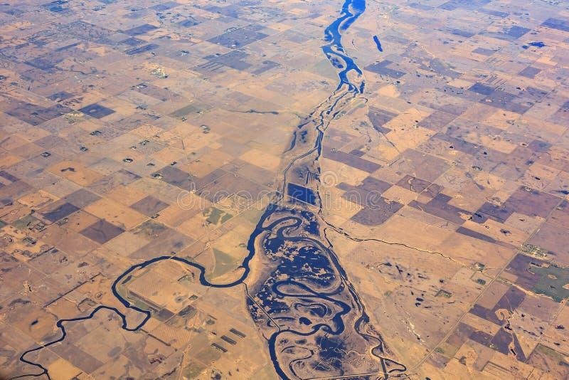 Piękna rzeka i pole blisko Minot zdjęcie royalty free