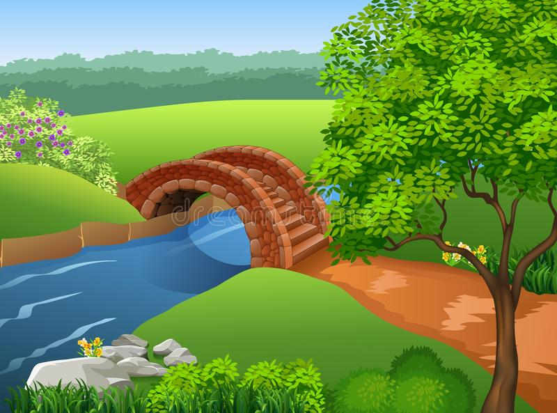 Piękna rzeka na natury tle ilustracji