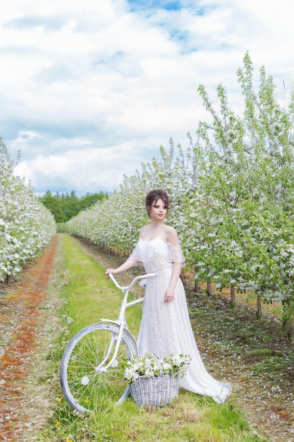 Piękna słodka delikatna szczęśliwa dziewczyna w beżowej sukni z boudoir z białym bicyklem z kwiatami w koszykowej, nowożytnej fot zdjęcie stock