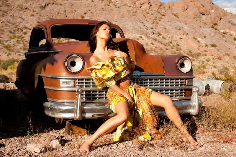 piękna samochodowa stara kobieta zdjęcie stock