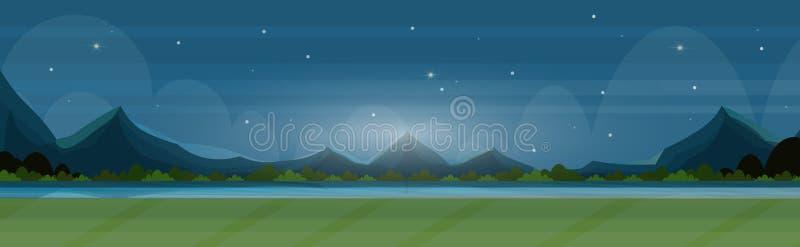 Piękna sceneria w natury nocy rzecznych górach kształtuje teren tła lata panoramicznego widoku płaskiego horyzontalnego sztandar royalty ilustracja