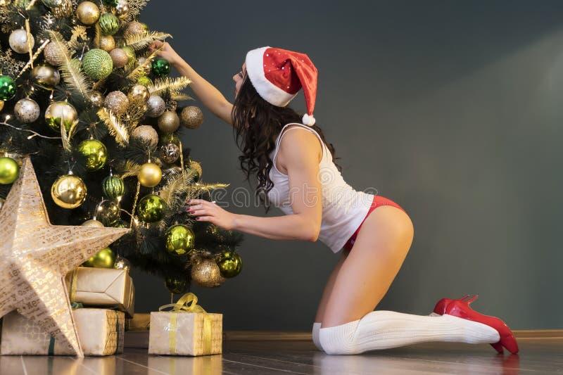 Piękna seksowna dziewczyna w bielizna czerwonych majtasach, Santa nakrętka i biała koszulka, ubieramy w górę choinki z złocistymi fotografia royalty free