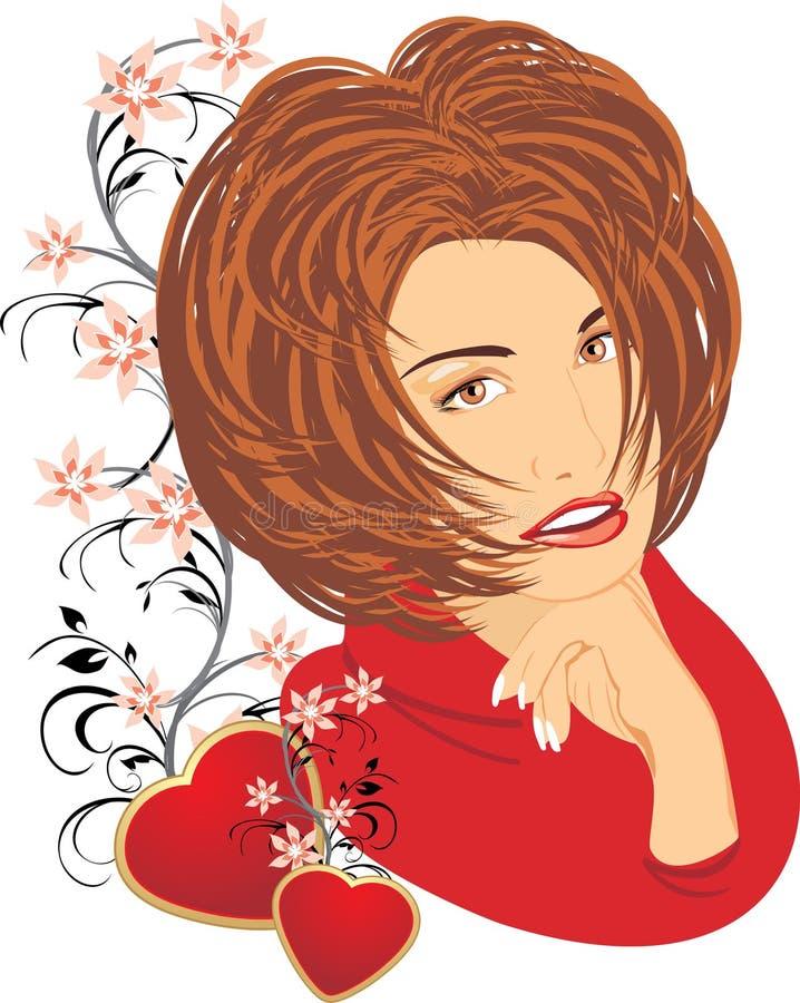 piękna serc portreta czerwieni kobieta ilustracji