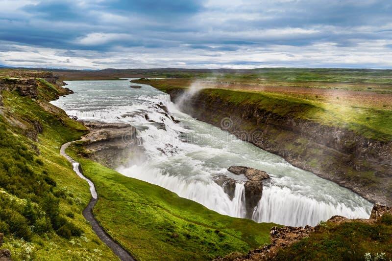 Piękna siklawa Gullfoss, sławny punkt zwrotny w Iceland zdjęcie stock