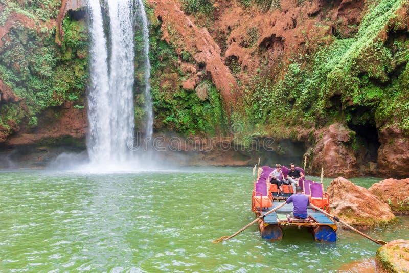 Piękna siklawa w Ouzoud, Azilal, Maroko Uroczysty atlant obrazy stock