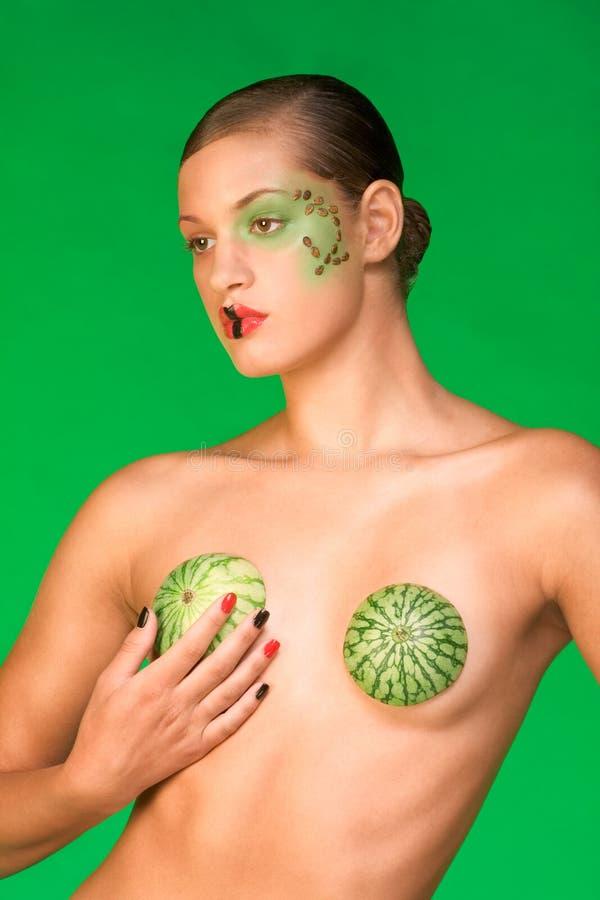 piękna stanika egzot uzupełniająca arbuza kobieta obrazy royalty free