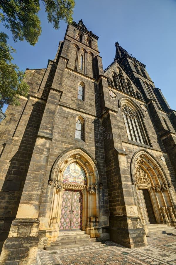 Piękna stara bazylika święty Peter i Saint Paul, Vysehrad, Praga, republika czech obrazy royalty free