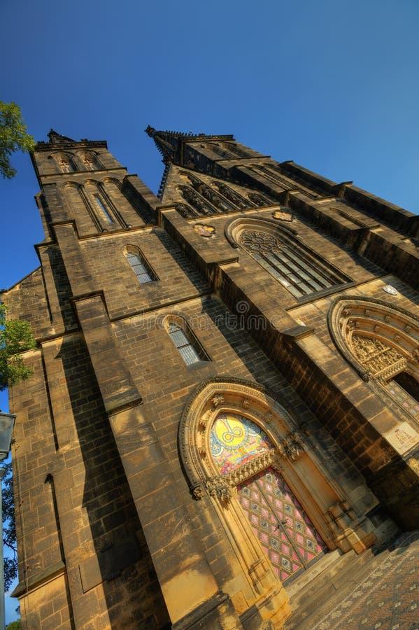Piękna stara bazylika święty Peter i Saint Paul, Vysehrad, Praga, republika czech obraz stock