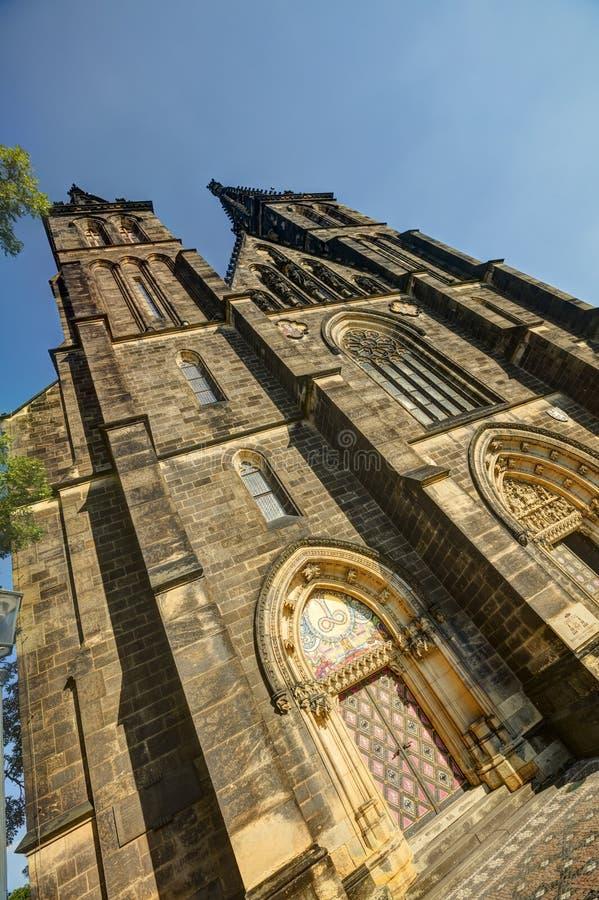 Piękna stara bazylika święty Peter i Saint Paul, Vysehrad, Praga, republika czech obraz royalty free
