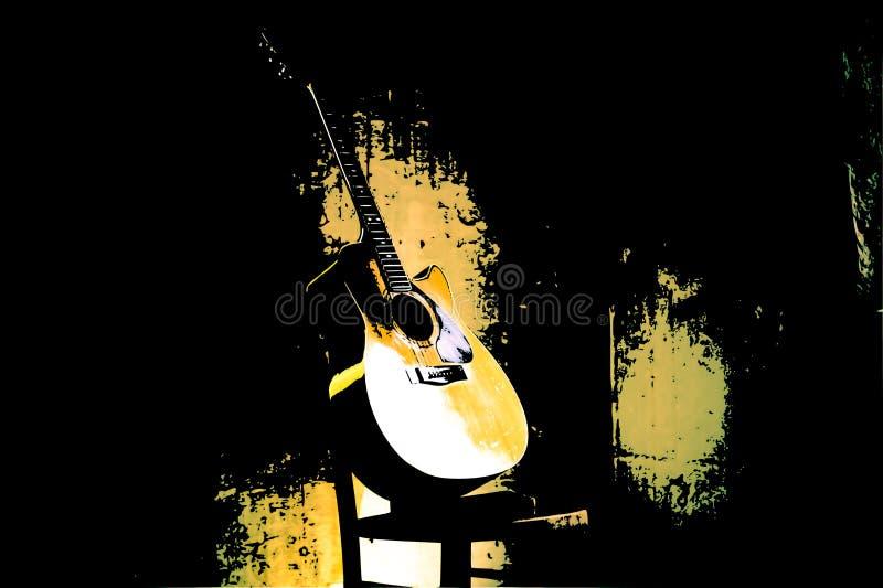 piękna stara gitara opiera przeciw krzesłu ilustracja wektor