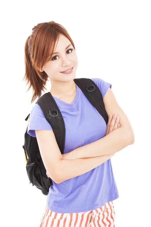 Piękna studencka azjatykcia dziewczyna z plecakiem obraz royalty free