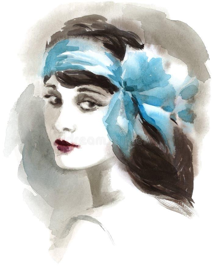 Piękna Stylowa ręka Malująca kobieta rocznika lat dwudziestych akwareli mody ilustracja ilustracji