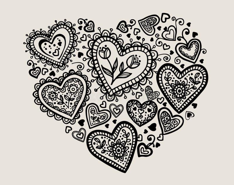 Piękna sylwetka serce koronkowi kwiaty royalty ilustracja