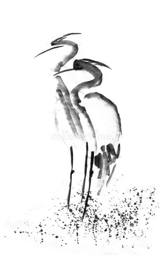 Piękna szarmancka bocianowa Czaplia dźwigowa miłość Czarny atrament Japoński obrazu sumi-e ilustracji