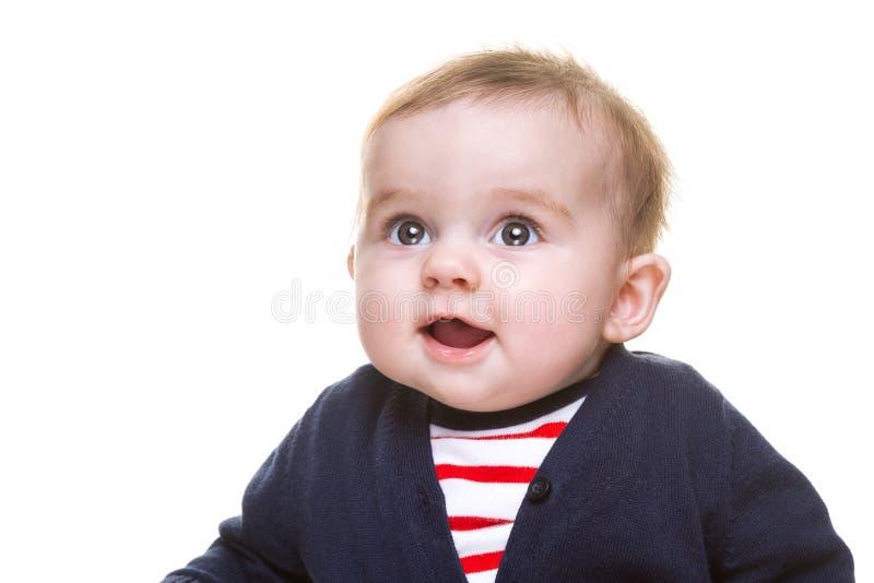 Piękna Szczęśliwa dziewczynka w Błękitnym Białym Czerwonym stroju zdjęcia royalty free