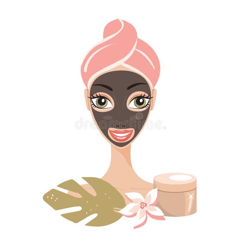 Piękna szczęśliwa kobieta z twarzy maski zdroju skóry opieki pojęciem ilustracji