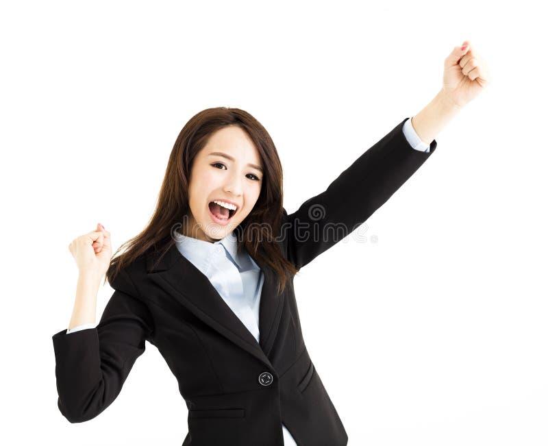 Piękna szczęśliwa młoda biznesowa kobieta zdjęcia royalty free