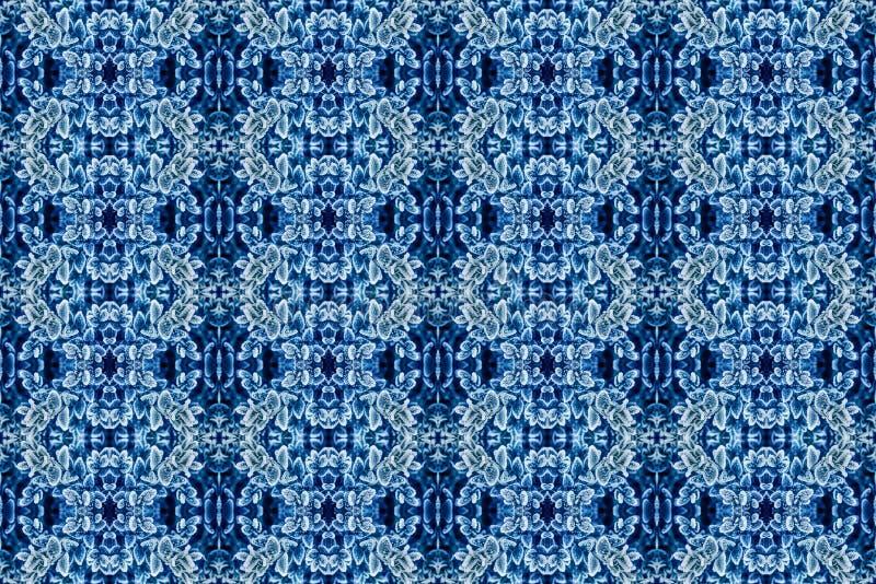 Piękna tekstura mróz i lód na liściach, zimy tło, błękit zabarwiający, bezszwowy royalty ilustracja