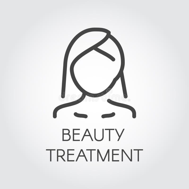 Piękna traktowania ikona Abstrakcjonistyczny portret kobieta w liniowym stylu Kosmetologia, skincare, opieki zdrowotnej pojęcie royalty ilustracja