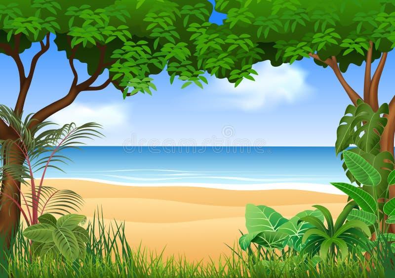 Piękna tropikalna plaża na lesie ilustracji