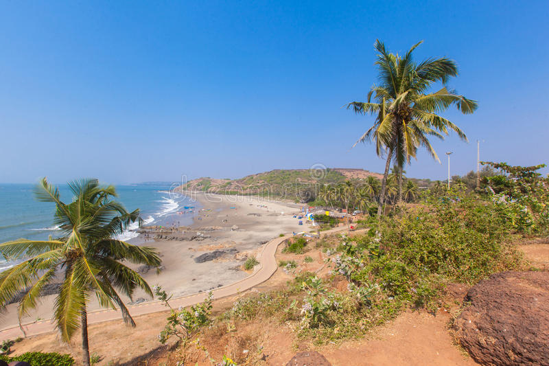 Piękna Tropikalna plaża w Vagator, Goa, India obraz royalty free