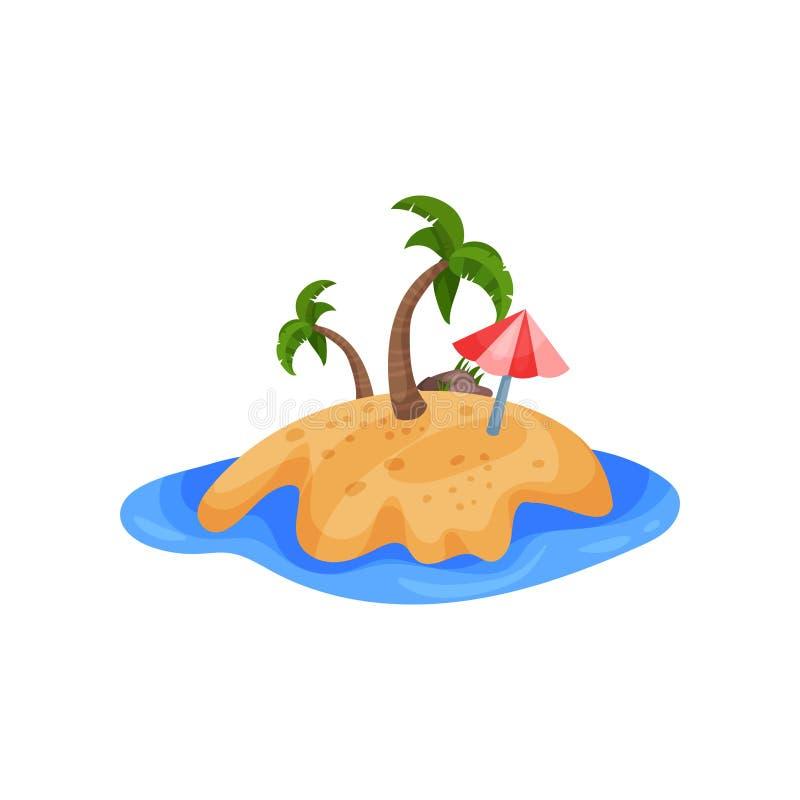 Piękna tropikalna wyspy i parasola wektorowa ilustracja na białym tle royalty ilustracja