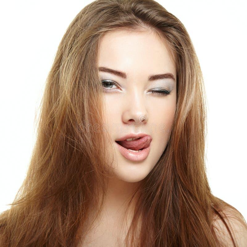 piękna twarzy moda uzupełniająca kobieta uśmiechnięci młodych dziewcząt zdjęcia stock