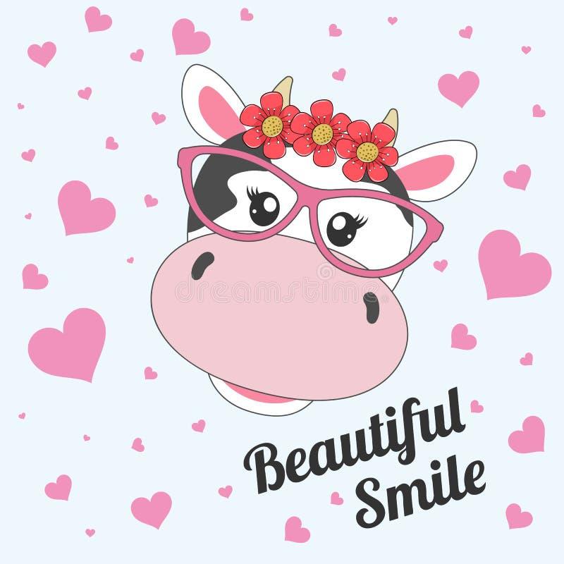 Piękna uśmiech kreskówki krowa w szkłach na różowym tle ilustracji