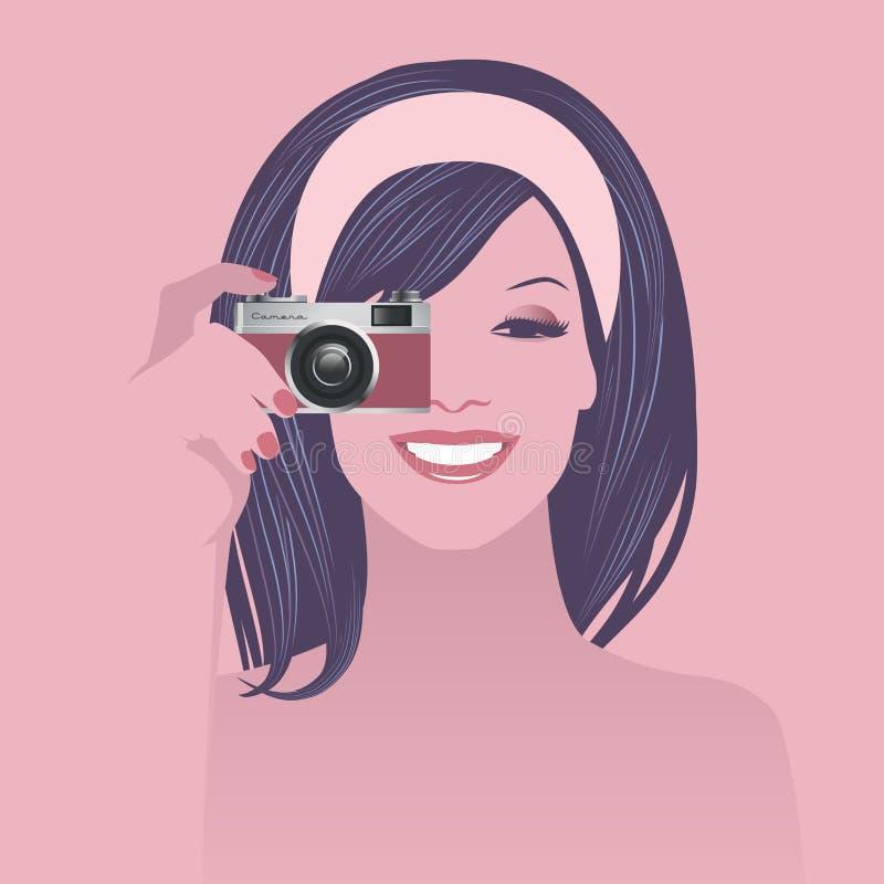 Piękna uśmiechnięta dziewczyna trzyma retro fotografii kamerę, rocznika styl ilustracji