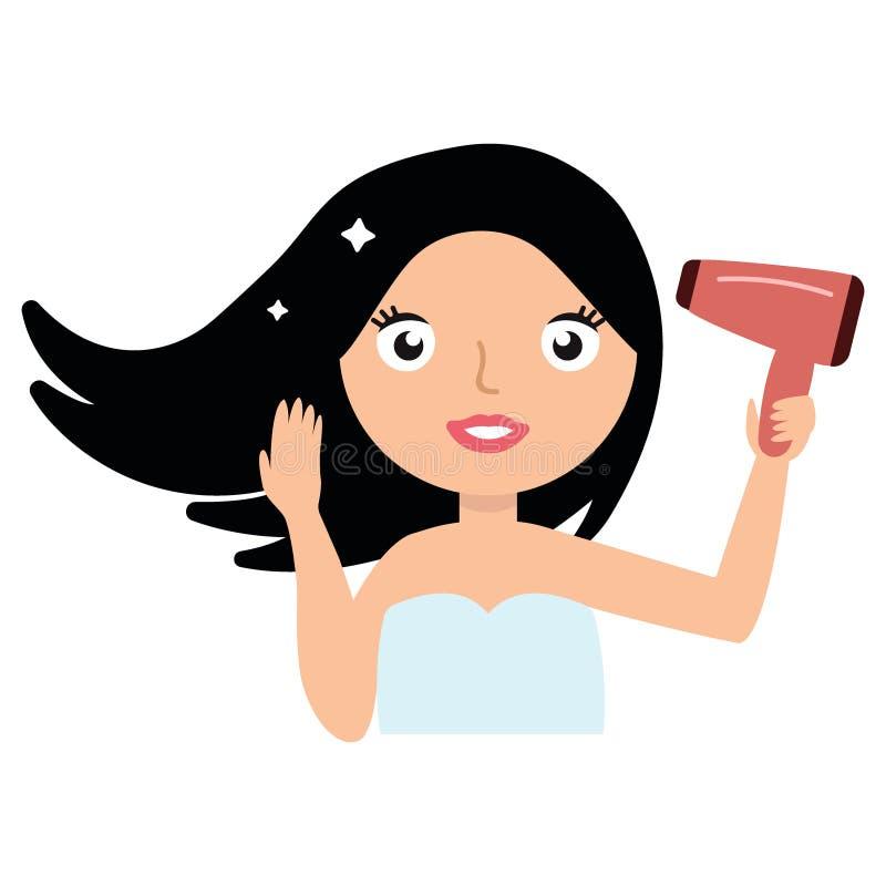 Piękna uśmiechnięta młoda kobieta suszy jej włosy z hairdryer odizolowywającym na białym tle ilustracji