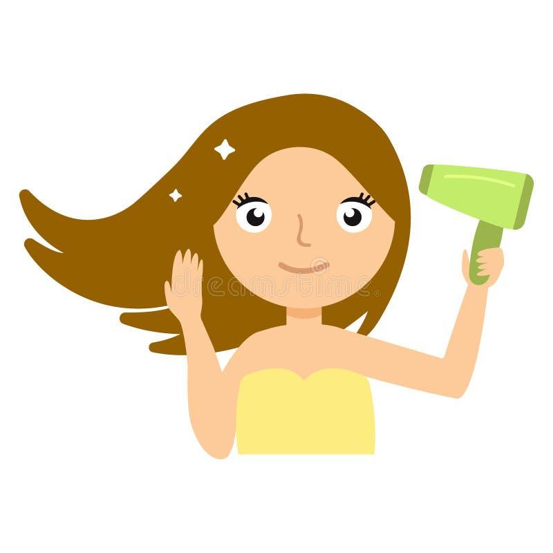 Piękna uśmiechnięta młoda kobieta suszy jej włosy z hairdryer wektoru ilustracją royalty ilustracja