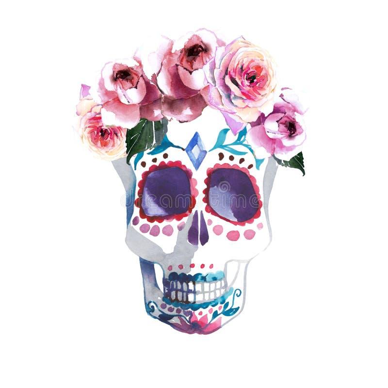 Piękna urocza graficzna artystyczna abstrakcjonistyczna jaskrawa śliczna Halloween elegancka kwiecista czaszka z róża wianku akwa ilustracja wektor