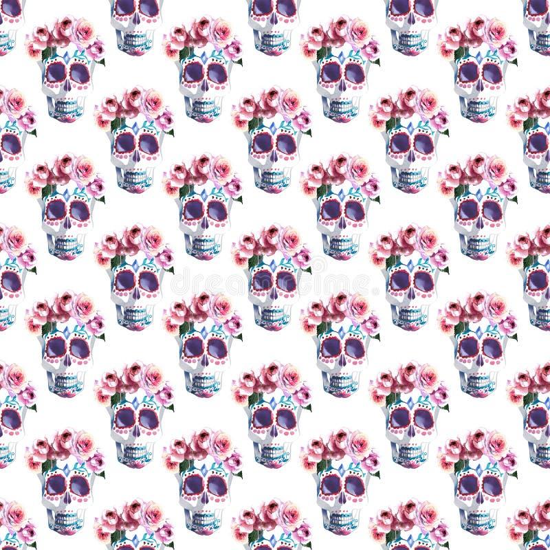 Piękna urocza graficzna artystyczna abstrakcjonistyczna jaskrawa śliczna Halloween elegancka kwiecista czaszka z róża wianku akwa ilustracji