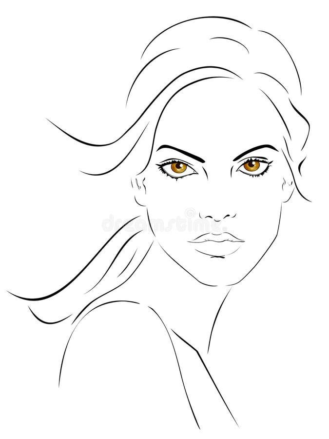 piękna uroda oczy makijaż naturalnego portret dziewczyny royalty ilustracja