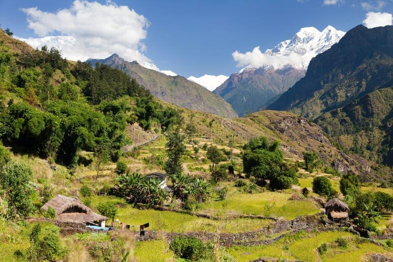 Piękna villagewith góra Dhaulagiri obrazy stock
