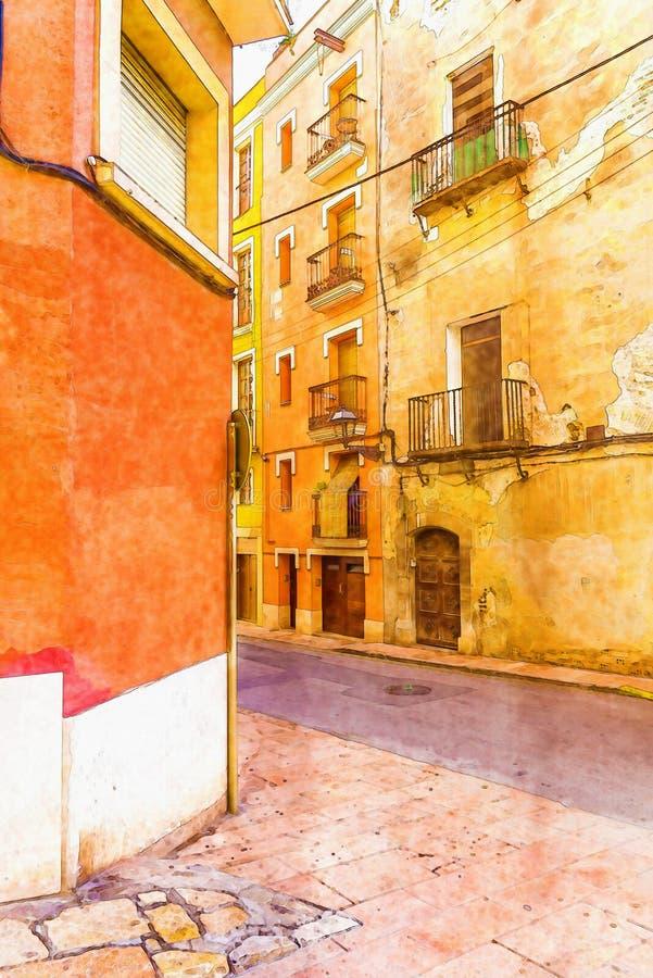 Piękna wąska aleja w starym miasteczku Spain, akwarela ból ilustracji