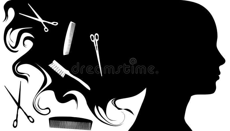 piękna w stylu zwolnienia włosów royalty ilustracja