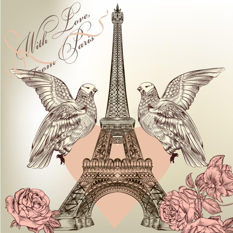 Piękna walentynki karta z szczegółową wektorową wieżą eifla, wzrastał ilustracja wektor