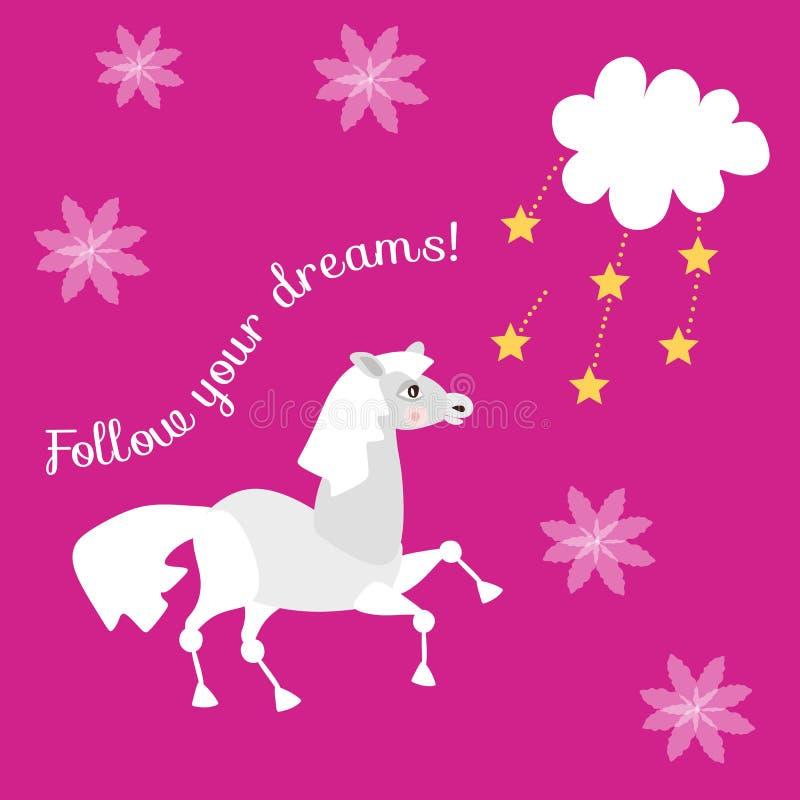 Piękna wektor karta Podąża twój sen z ślicznym śmiesznym koniem, gwiazdami i chmurą na lilym tle, royalty ilustracja