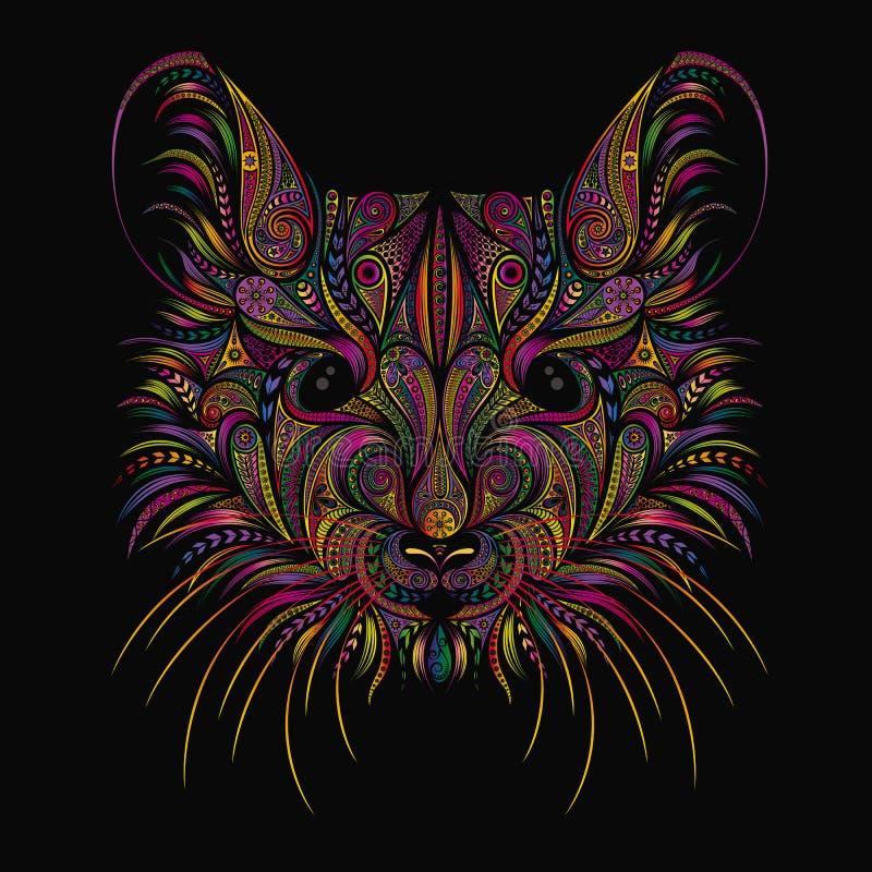 Piękna wektorowa mysz od wzorów na czarnym tle Symbol nowy rok 2020 na Chińskim calenda ilustracja wektor